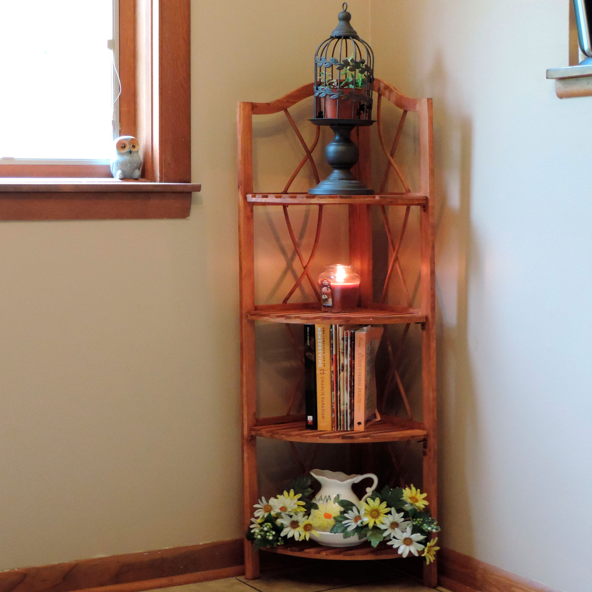 4 Tier Wood Folding Corner Display Shelf by Lavish Home