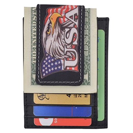 Genuine Leather Front Pocket Magnetic Money Clip Slim Minimalist Wallet Skull Bone USA Skull USA Flag Eagle USA Logos (USA Eagle)