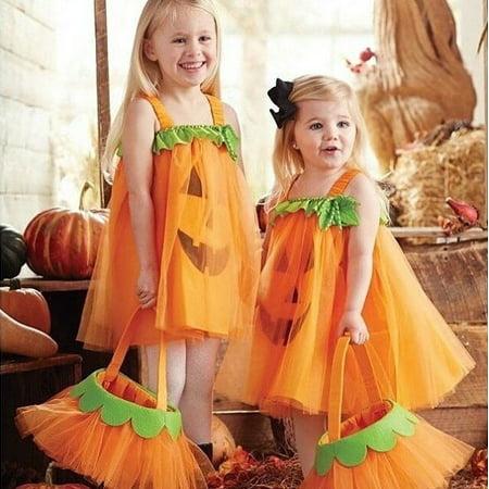 Lovely Pumpkin Baby Kids Girl Sleeveless Princess Dress Party Pageant Gown Costume](Pumpkin Princess)