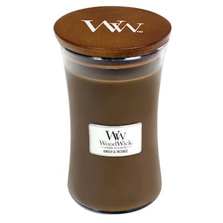 AMBER INCENSE - WoodWick 22oz Large Jar Candle Burns 180 Hours