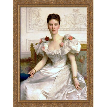 Madam the Countess of Cambaceres 28x36 Large Gold Ornate Wood Framed Canvas Art by William Adolphe Bouguereau ()