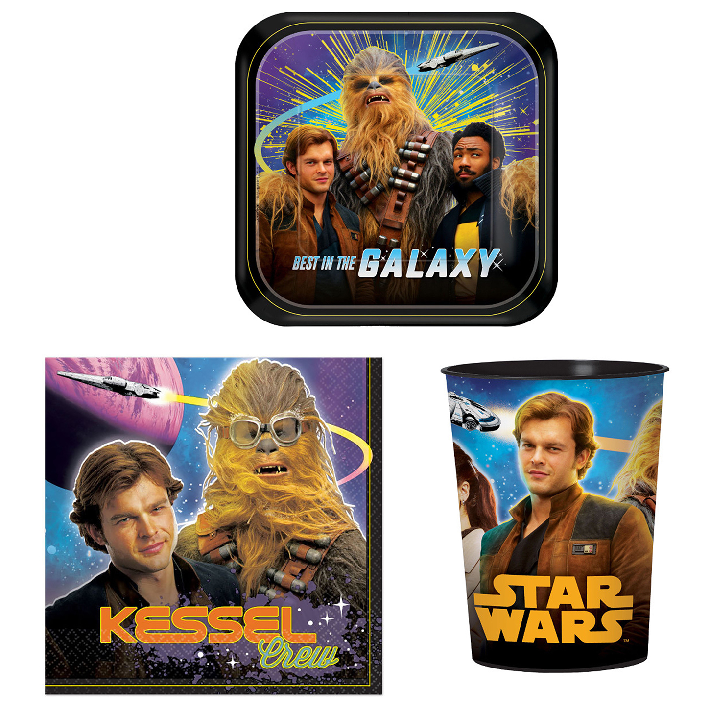 "Star Wars Han Solo Party Bundle: 8x 7"" Plates, 16x Napkins, x8 16oz Favor Cups"
