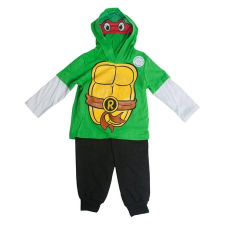 Teenage Mutant Ninja Turtles Raphael Costume Masked Hooded Long-Sleeve Set