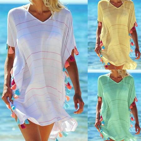 Women Beachwear Swimwear Tassel Bikini Cover Up Summer Kaftan Sarong Beach Dress One Size Yellow