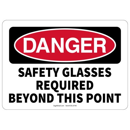 OSHA DANGER SAFETY SIGN GLASSES REQUIRED BEYOND THIS POINT](Wayfarer Glasses Cheap)