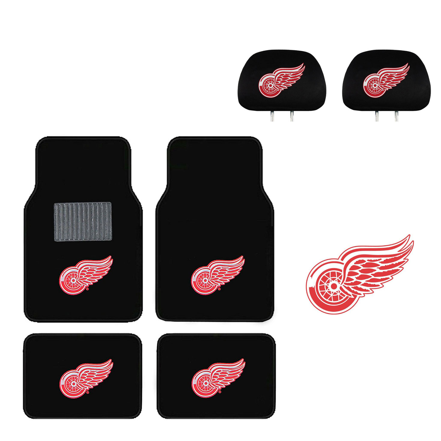 Detroit Redwings 4 Pc Carpet Floor Mats And Head Rest Cover With Color Decal