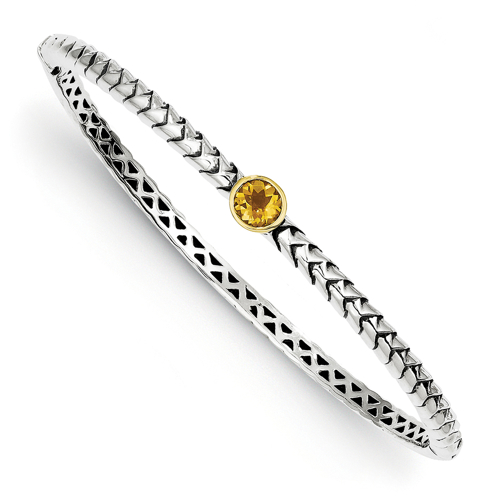 14k Yellow Gold w Sterling Silver Two-Tone w 6mm Citrine Hinged Bangle Bracelet QTC191 by