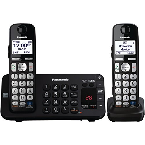 Panasonic KX-TGE242B DECT 6.0 Expandable Digital Cordless Answering System, 2 Handsets by