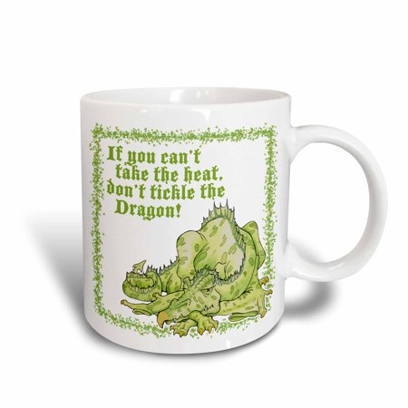 - 3dRose Dragon with Dont Tickle the Dragon, Ceramic Mug, 11-ounce