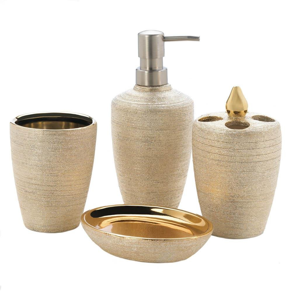 Click here to buy Bath Accessories For Men, Golden Shimmer Shower Bath Accessories Women, Porcelain by Accent Plus.