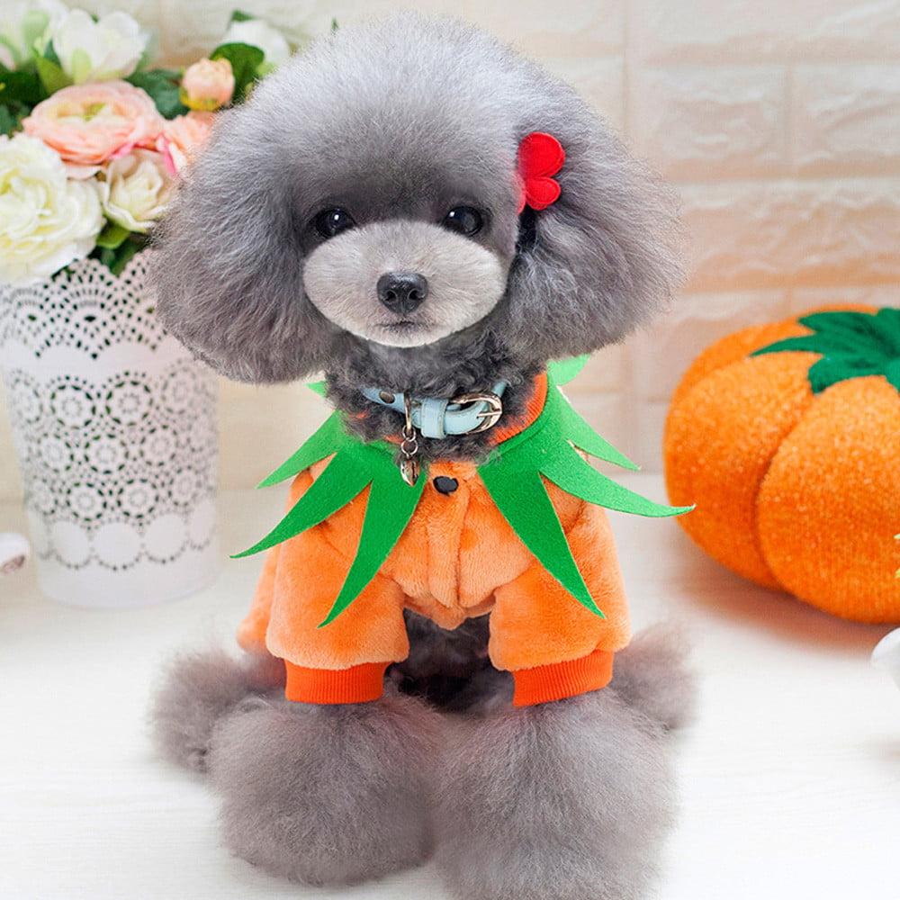 Mosunx Halloween Pumpkin Cool Cute Dog Pet Cosplay Costume Coral Velvet Clothing