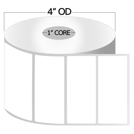 "OfficeSmartLabels 3"" x 1"" Thermal Transfer Labels, Zebra Compatible Labels (1 Roll, 1300 Labels Per Roll, 1 inch Core, White, 4"" Diameter, Perforated)"