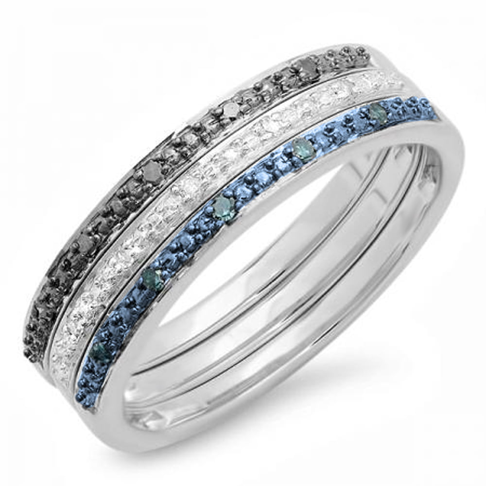 Sterling Silver Dazzlingrock Collection 0.10 Carat Round Blue Diamond Ladies Bridal Vintage Right Hand Arrow Ring ctw