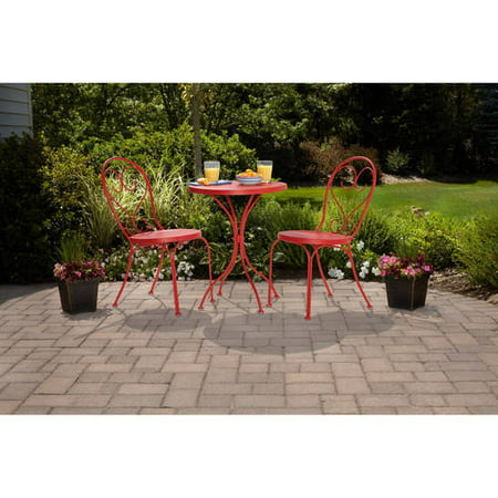 (Mainstays 3-Piece Small Space Scroll Outdoor Bistro Set, Seats 2)