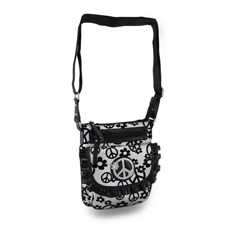 Silver Snake Like Purse (Zeckos - Flocked Flowers and Peace Symbols Rhinestone Crossbody Purse w/Ruffled Trim - Silver - Size Small )