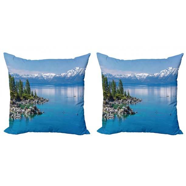 Landscape Throw Pillow Cushion Cover Pack Of 2 Blue Waters Of Lake Tahoe Snowy Mountains Pine