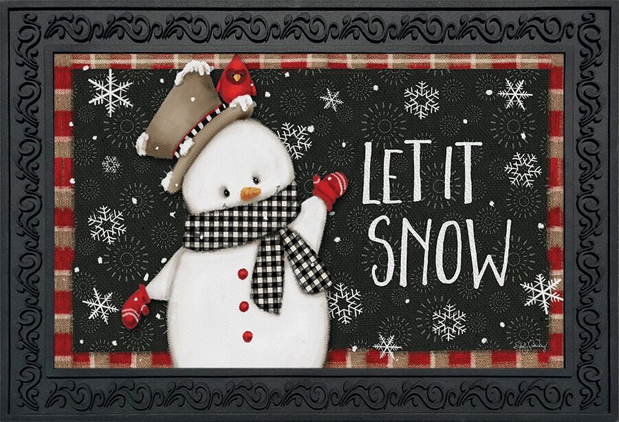 "Snow Day Winter Doormat Snowman Primitive Indoor Outdoor 18/"" x 30/"""