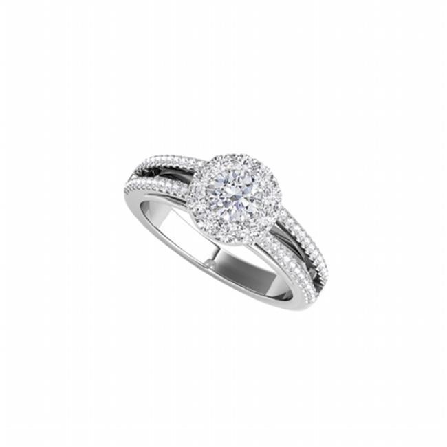 Fine Jewelry Vault UBNR50867EAGCZ Split Shank Design CZ Halo Engagement Ring - 1.50 CT TGW
