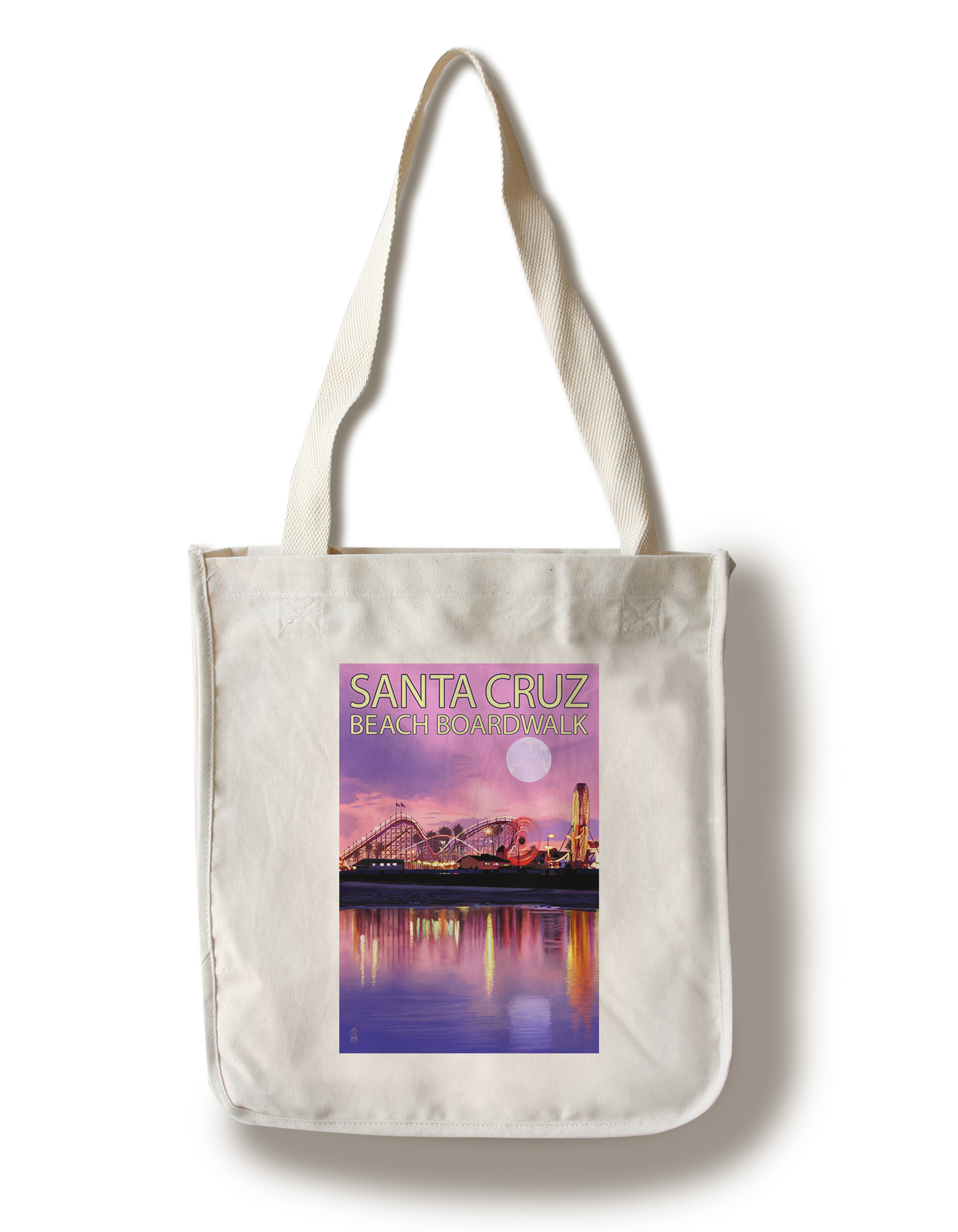 Santa Cruz, California - Beach Boardwalk & Moon at Twilight - Lantern Press Artwork (100% Cotton Tote Bag - Reusable)
