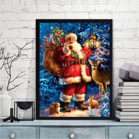 Tiger Cross Stitch Pattern - 40*30CM Santa Claus & Deer Pattern Diamond Painting Embroidery Cross Stitch Round Resin Christmas Festival Art Picture