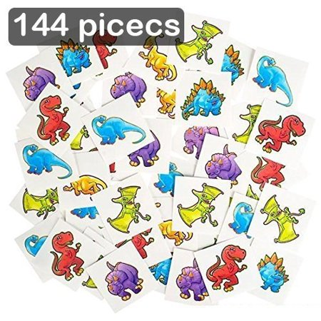 Temporary Tatoos For Kids (Dinosaur Temporary Tattoo Kit 144 Pieces – 2 Inch Kids Dino Assortment- Bright & Colorful Temporary Tattoo Toys For Kids And Adults - By)