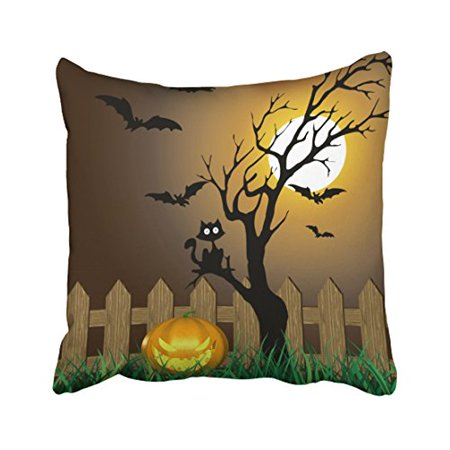 WinHome Decorative Pillowcases Scary Halloween Garden Scene Throw Pillow Covers Cases Cushion Cover Case Sofa 18x18 Inches Two Side (Halloween 2 Final Scene)