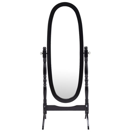 Costway full length dressing mirror swivel wood cheval for Antique standing mirror