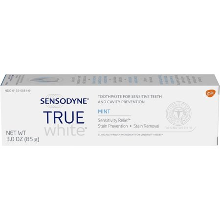 Sensodyne True White Sensitive Teeth Whitening Toothpaste, Mint - 3 Ounces