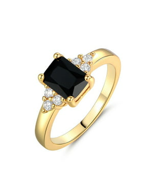 Simple Crystal Square Rings for Women Wedding Jewelry Black diamond 6#