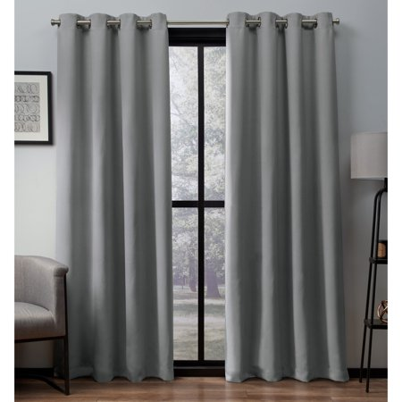 Exclusive Home Curtains 2 Pack Heath Textured Linen Grommet Top Curtain Panels