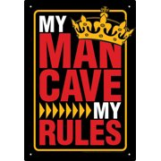 Tin Sign - Man Cave Rules Metal Plate New Licensed Gift Toys 30035