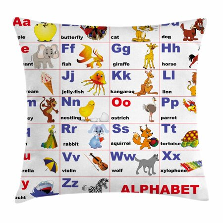 Educational Throw Pillow Cushion Cover, Animals Placed on Letter of the Alphabet Teacher's Chart Classroom Kindergarten, Decorative Square Accent Pillow Case, 24 X 24 Inches, Multicolor, by (Alphabet Pillow)