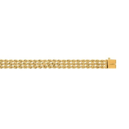 14K Yellow Solid Gold 7mm wide Diamond Cut Multi Line Rope Chain 8 Bracelet Box Catch Clasp