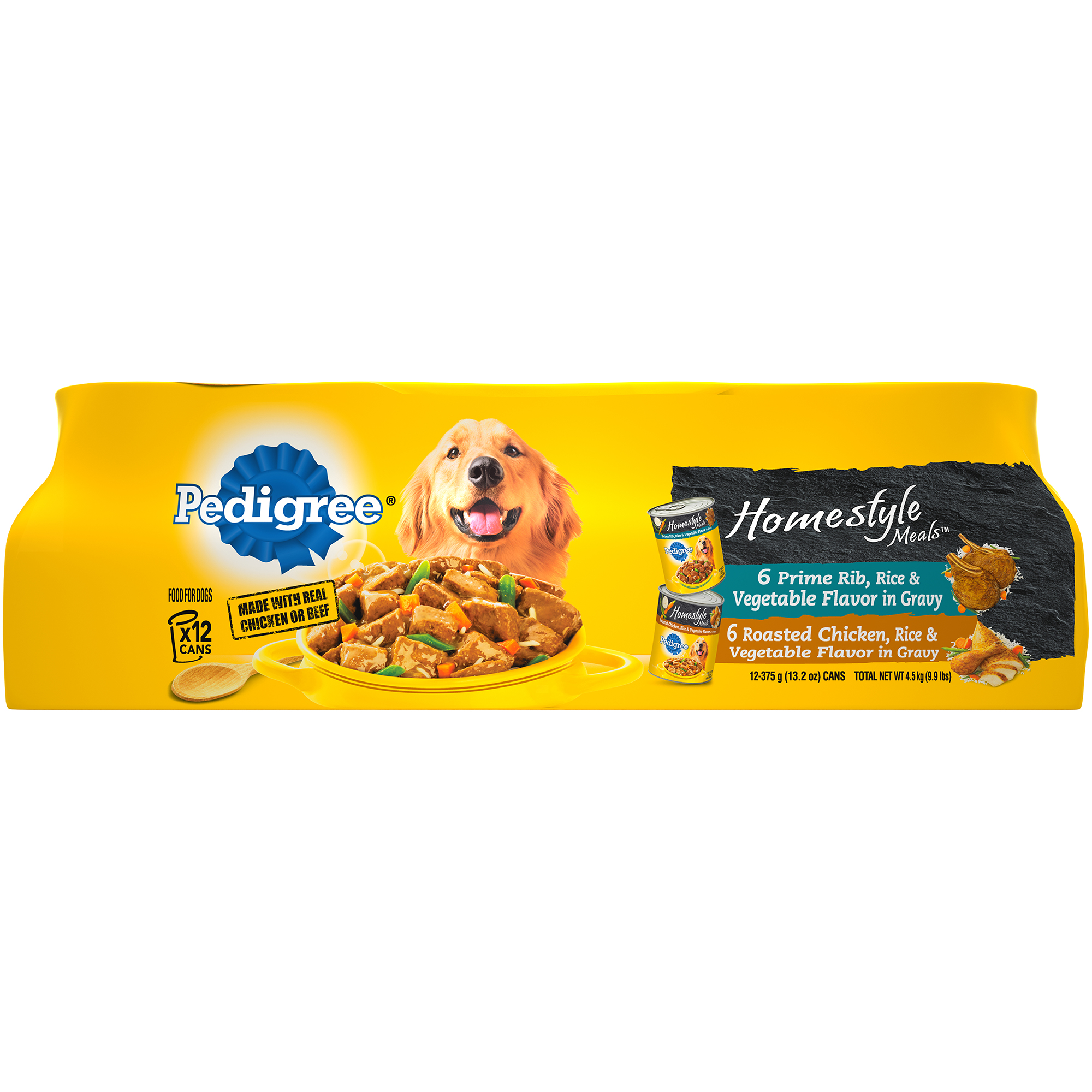 PEDIGREE Homestyle Meals Adult Canned Wet Dog Food Variety Pack, (12) 13.2 oz. Cans
