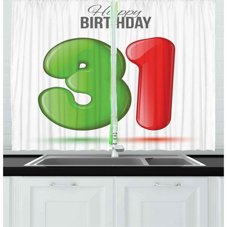 - 31st Birthday Curtains 2 Panels Set, 3D Style Volume Figure Number 31 Greeting Celebration Themed Design, Window Drapes for Living Room Bedroom, 55W X 39L Inches, Green Red White, by Ambesonne