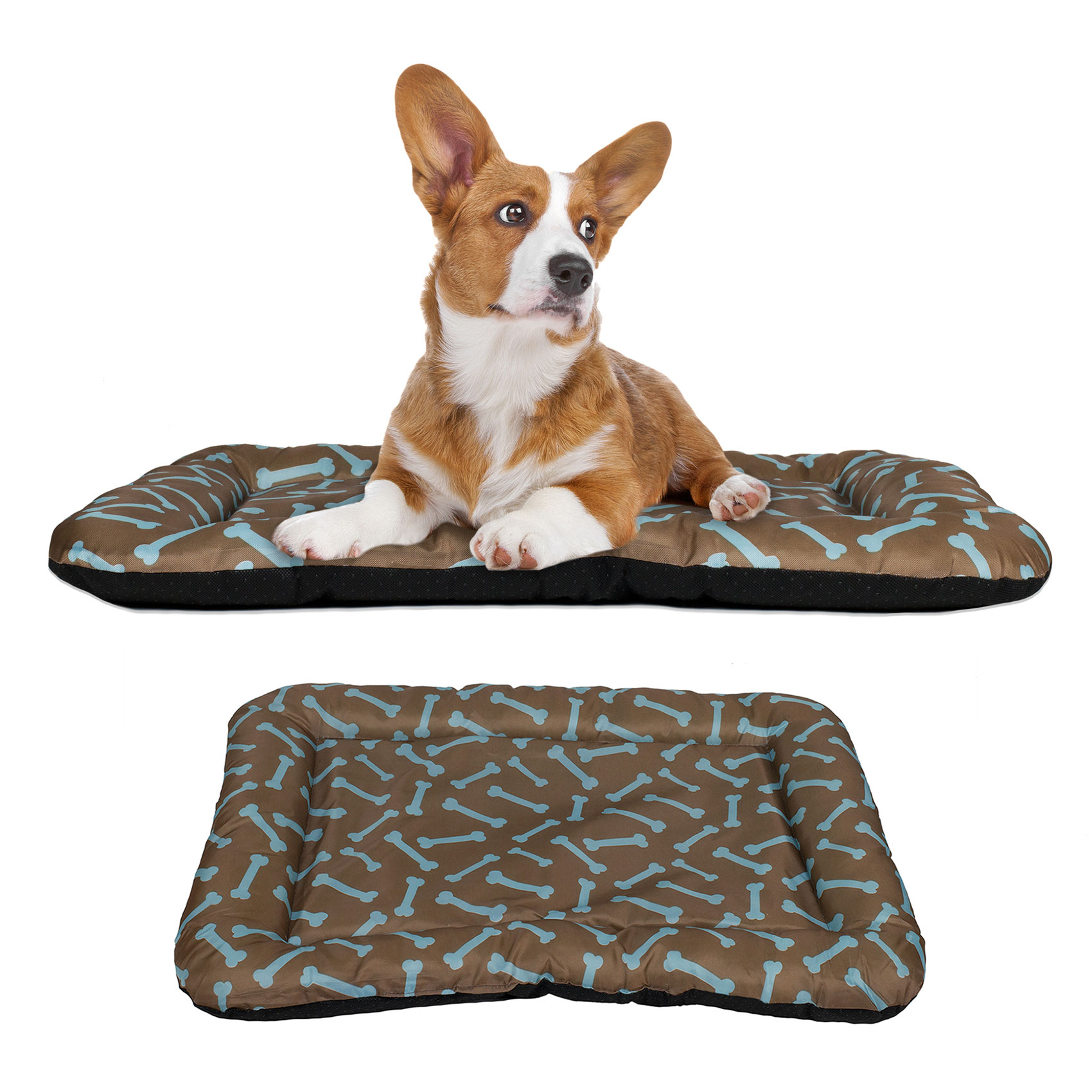 "Dog Crate Pad Bolster Bed Pet Mat Waterproof, 36"" x 23"" Large Brown and Blue Bone"