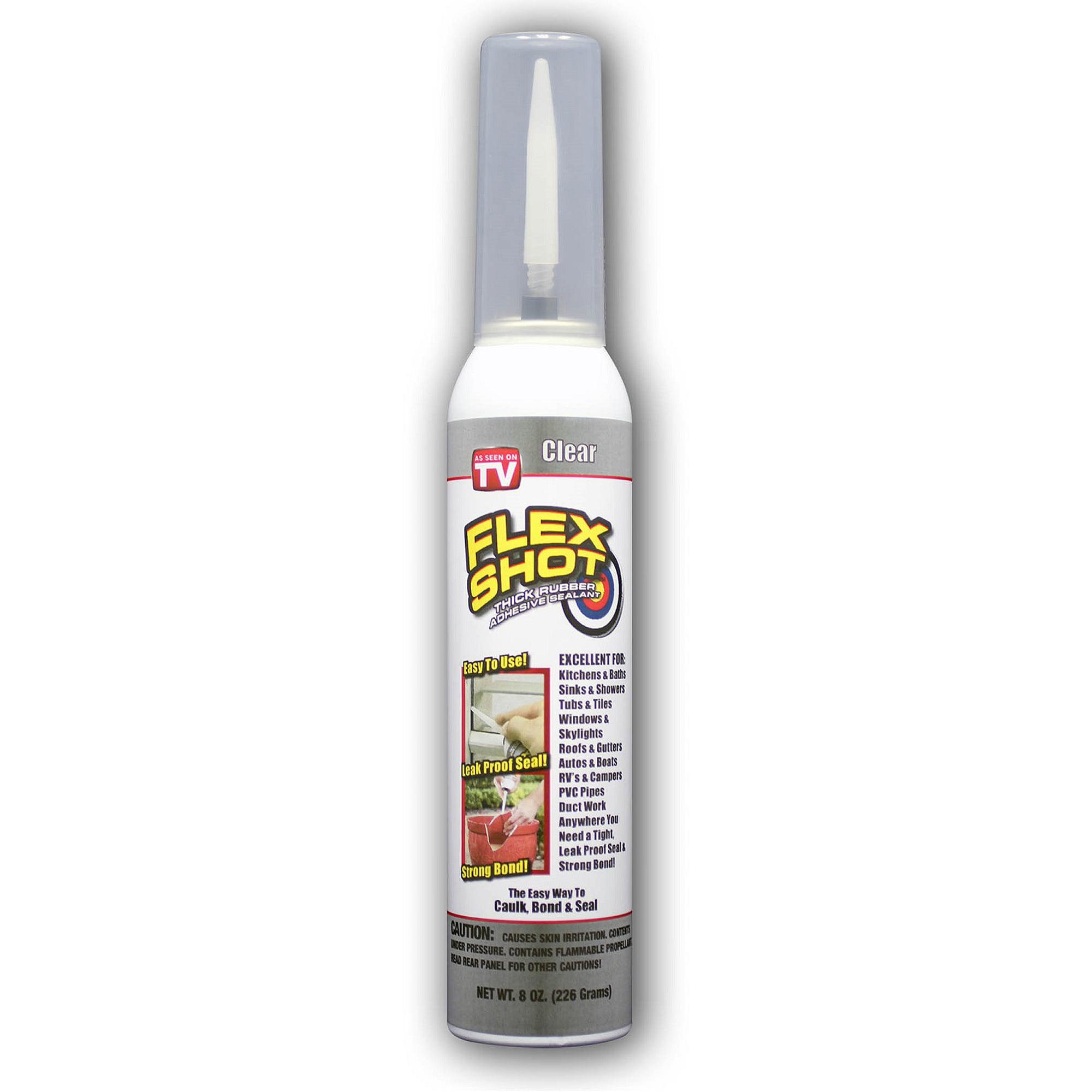 Flex Shot Thick Rubber Caulking Adhesive Waterproof Sealant, Caulks Bonds  And Seals! Clear 8 Oz.   Walmart.com