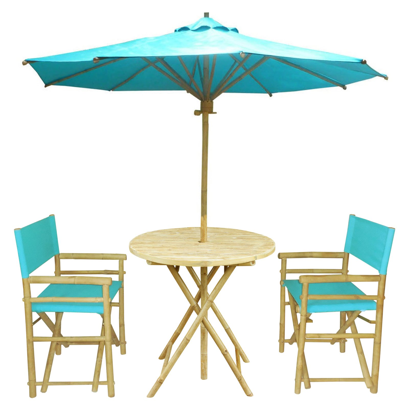 Statra Bamboo Round 3 Piece Patio Dining Set With Matching