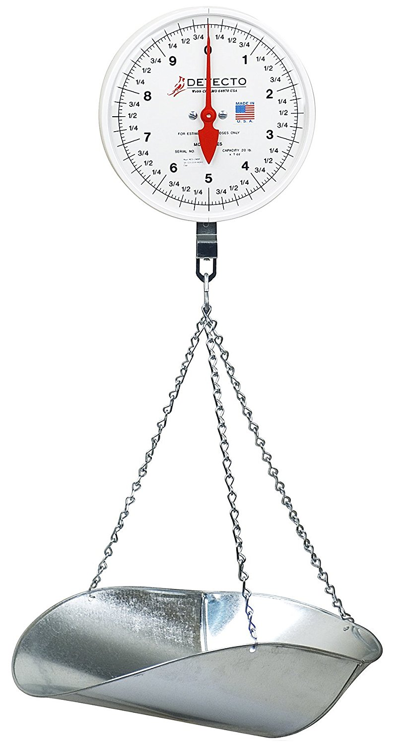 Click here to buy Detecto MCS-20P Hanging Dial Scale, 20 lb. Capacity, Scoop by Cardinal Scale Manufacturing Company.