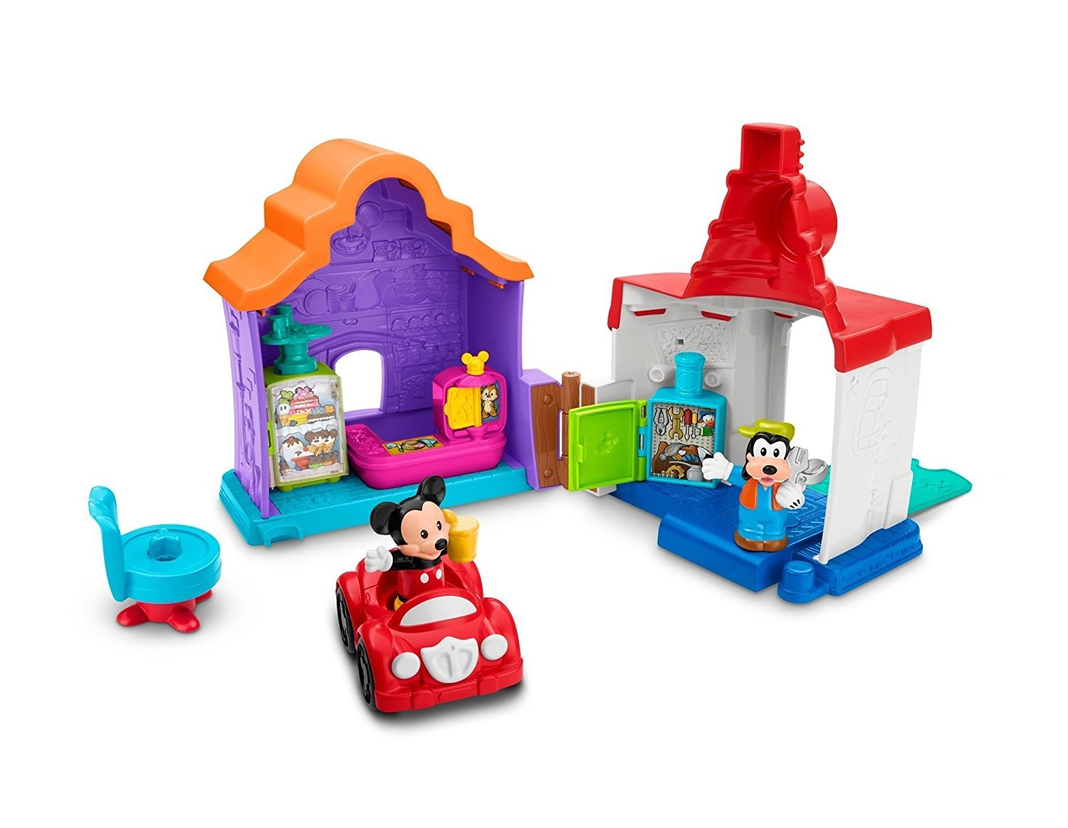 Fisher Price Little People Magic of Disney Mickey & Goofy's Gas & Dine Playset by Fisher-Price