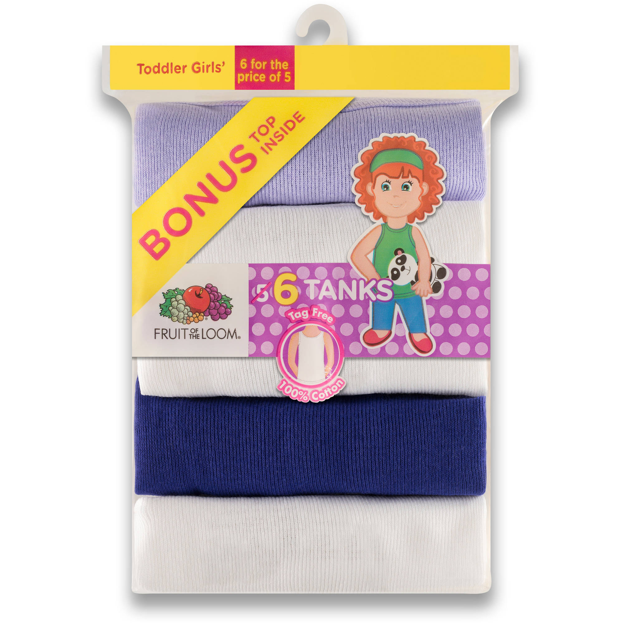 Fruit of the Loom Toddler Girls 5+1 Assorted Tank