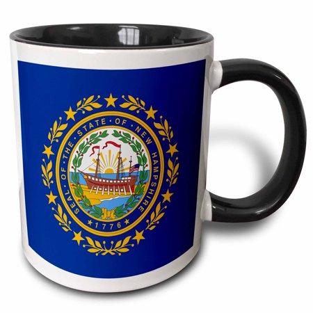 3dRose State Flag of New Hampshire (PD-US), Two Tone Black Mug, 11oz - New Hampshire State Seal