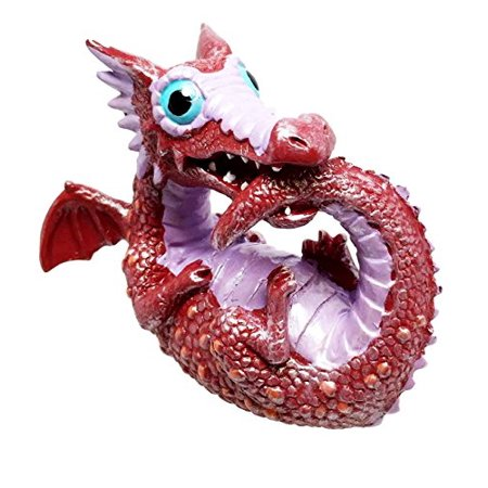 Small Collector Red Cute Tail Biting Baby Dinosaur Dragon Ornament Figurine - Dinosaur Tail