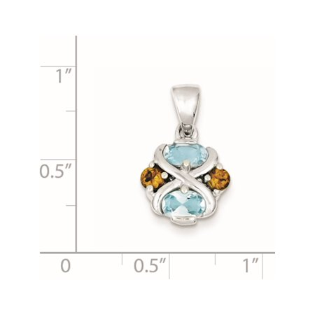 925 Sterling Silver Rhodium-plated Blue Topaz and Citrine (12x20mm) Pendant / Charm - image 1 de 2