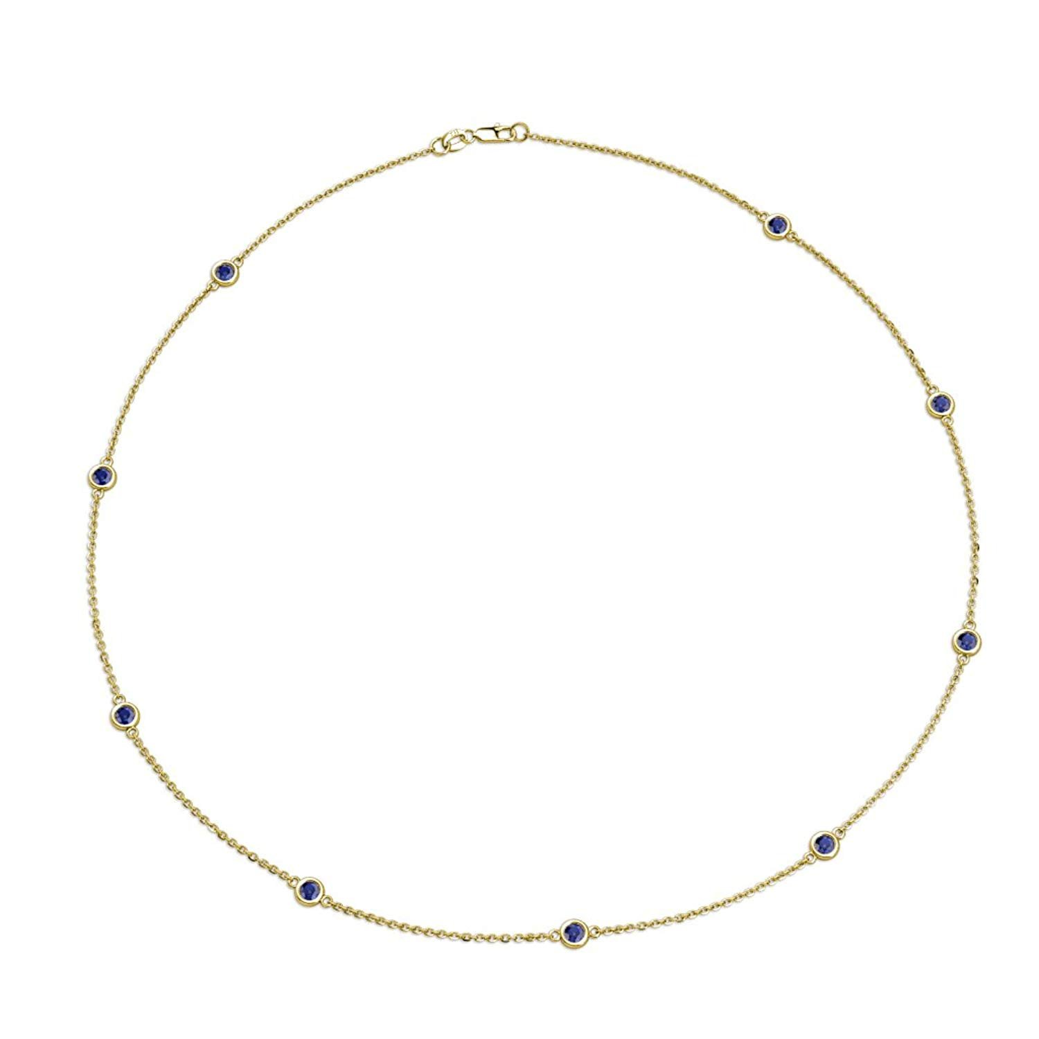 Blue Sapphire 9 Stations Necklace 0.66 cttw in 14K Yellow Gold by TriJewels