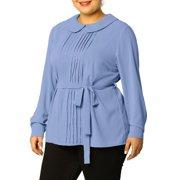 Women's Plus Size Chiffon Tops Long Sleeve Peter Pan Collar Blouse 4X Blue