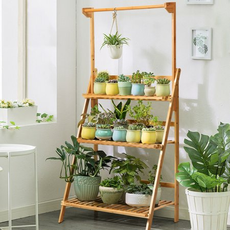 3 Tier Bamboo Hanging Folding Plant Shelf Stand Flower Pot Display Rack Bookcase Walmart Canada