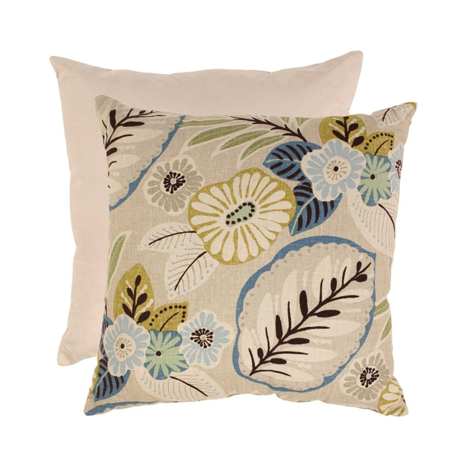 "Eco-Friendly Tropical Blue and Beige Floral Floor Pillow 23"" x 23"""