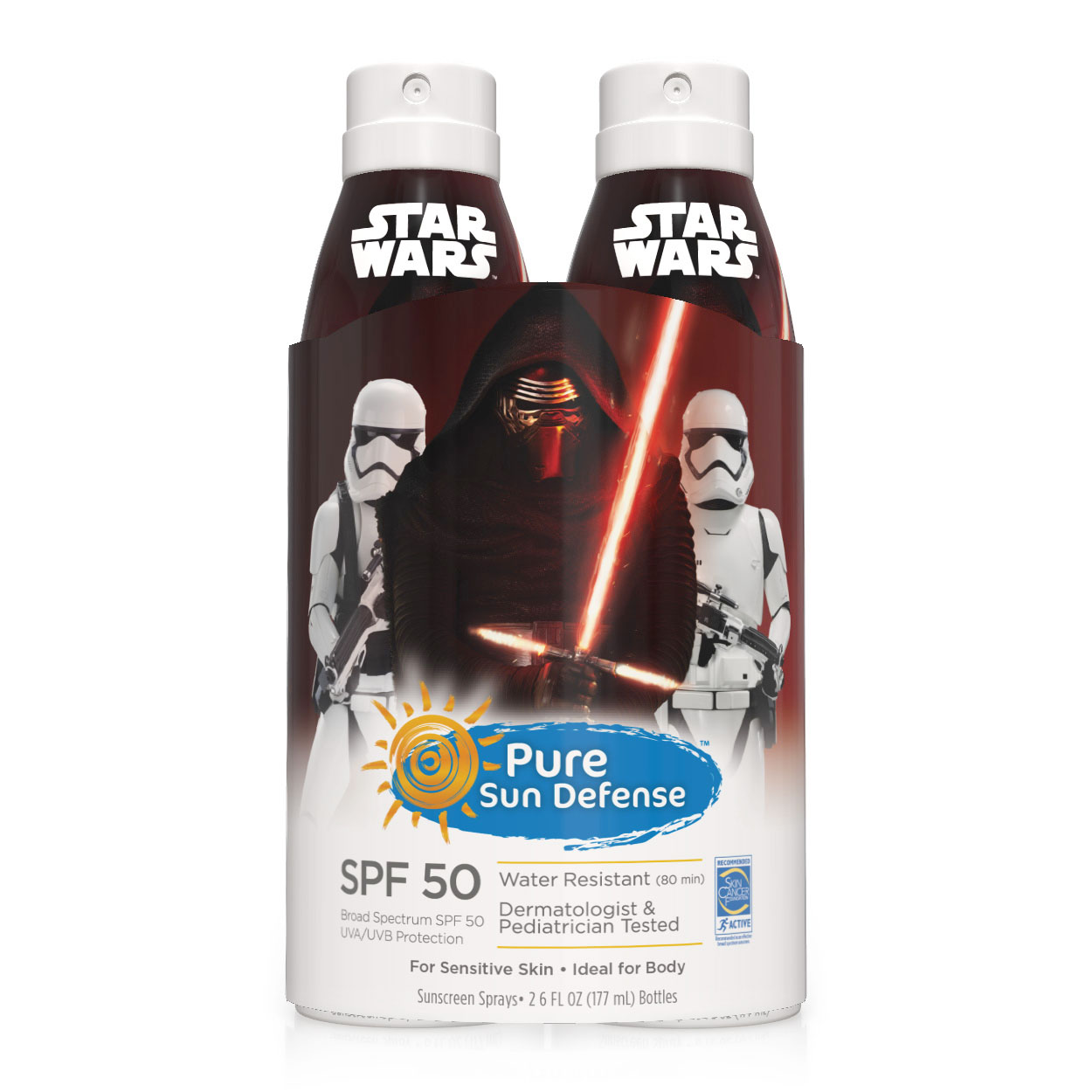 Pure Sun Defense Star Wars Twin Pack Sunscreen Spray SPF 50, 6 Oz
