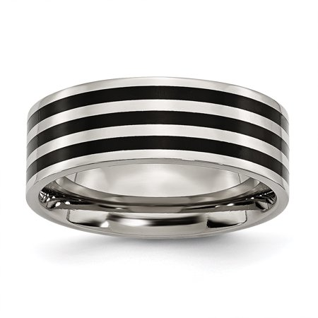Stainless Steel 8mm Black Plated Striped Wedding Ring Band Size 7.00 Fashion Jewelry Gifts For Women For Her - image 10 de 10